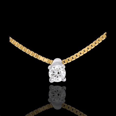Collier solitaire or jaune 18 carats - 0