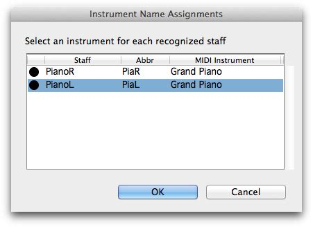Instrument Name Assignments dialog box