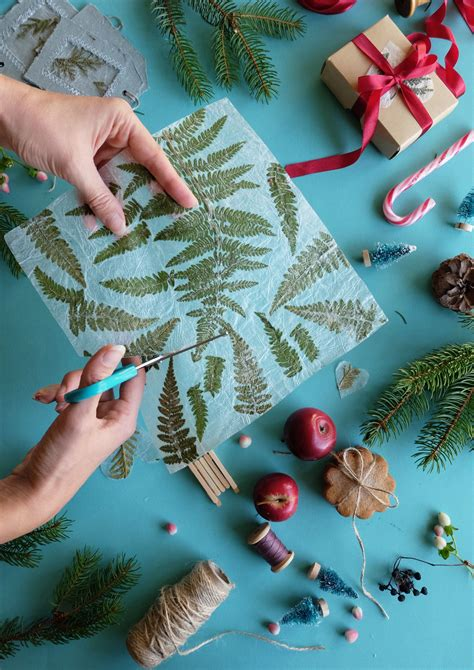 Handmade paper with fern - decorative plant paper - leaves