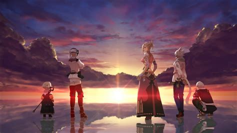 Final Fantasy XIV A Girl And Boys Seeing Sunset HD Final